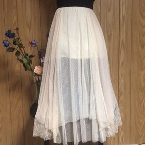 Free People Lace Layered Lined Skirt